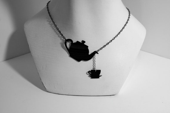Tea Time Silhouette Recycled Vinyl Necklace