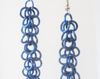 Long Blue Shaggy Loops Chainmaille Earrings Handmade