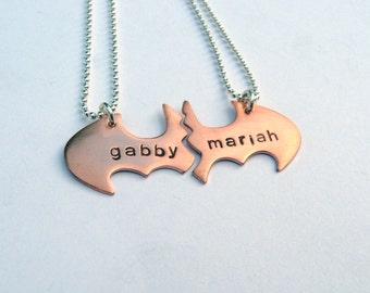 Batman Best Friend necklaces, Personalized Friendship Copper
