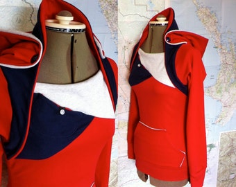 red and navy sweatshirt hoodie. kangaroo pouch and stash pocket.  red hoodie with contrast accents.  a new season's hoodie.