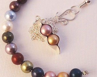 Brithstone Jewelry- Two (2) Pea pod Birthstone Necklace Custom Made For You