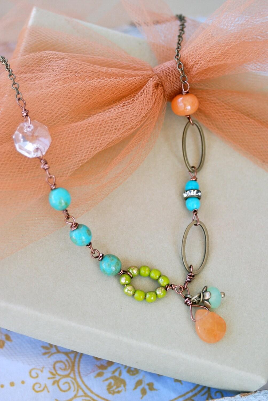 Clara Boho Glass Beaded Crystal Gemstone Necklace