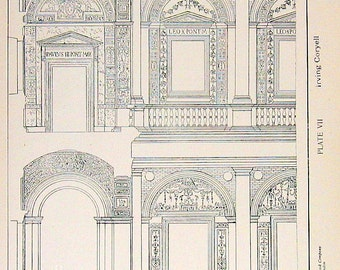 Architectural Drawings - Domed and Cloistered Vaults - 1906 Vintage Book Plate - American Vignola