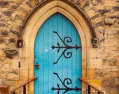 Church Door Print, UK Photography, Welsh Village, British Photo, Sky Blue Decor, Beddgelert Wales, Striking Art, Fine Art Photograph