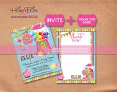 Gumball Invitation and Thank You Card Combo - For Baby Shower, Birthday, etc. DIY Printable Digital Files