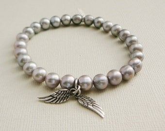 Freshwater Pearl Bracelets steel grey sterling Angel Wings charm stacking friendship fashion jewelry Wedding Bridal