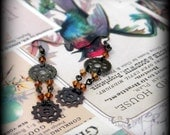 SALE!! - gear and crystal earrings- antique gold, brass and copper colours