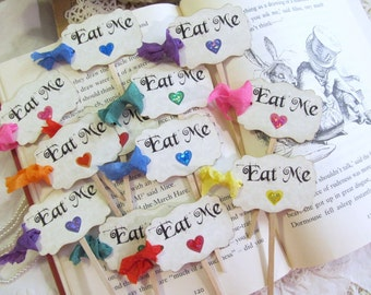 Alice Eat Me Cupcake Toppers with ribbons - Rainbow Sparkle Hearts - Alice in Wonderland Party Picks - Set of 18