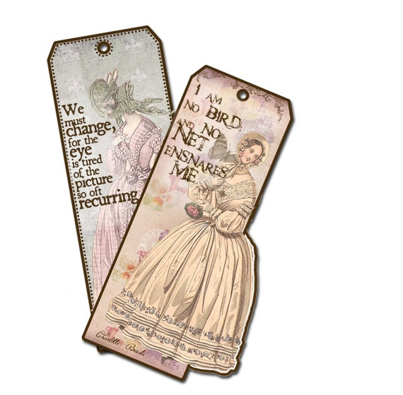 Jane Eyre Bookmarks Gifts for her Charlotte Bronte Quotes, I Am No Bird, Villette
