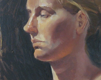 "Sale! Figure painting female portrait ""In Profile""  fine art oil on canvas by Sarah Sedwick 9x12in"