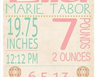 Girls Vintage Inspired Subway Nursery Art Birth Announcement Printable