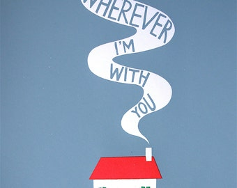 Cosy Cottage Home is Wherever I'm With You Original Art Print Blue A3 House Heart Valentines