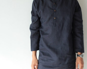 100% Linen djellaba style men's shirt (5701)