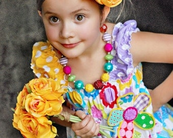 Made to match Tiered Dress by Palm Tree Princess Chunky Necklace for Girls