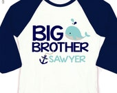 Nautical big brother shirt big brother to be nautical anchor and whale personalized raglan shirt