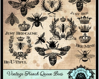 Bee Clipart Queen Vintage French Wreath Crown