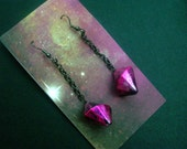Magenta Pink Pendulum Long Dangle Earrings - Industrial Jewelry with Chain Accents