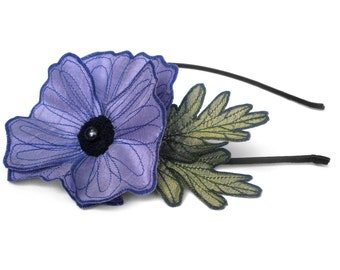 Periwinkle Purple Icelandic Poppy Flower Headband- You Choose Headband, Clip, or Brooch- Embroidered Silk Flower Fascinator with Leaves