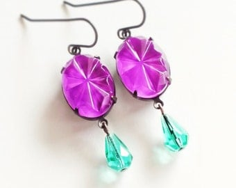Neon Purple Earrings Vintage Art Deco Earrings Colorful Glass Earrings Fuchsia Magenta Aqua Art Deco Bright Purple Jewelry