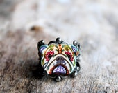 Day of the Dead English Bulldog Sugar Skull Dog Adjustable Ring