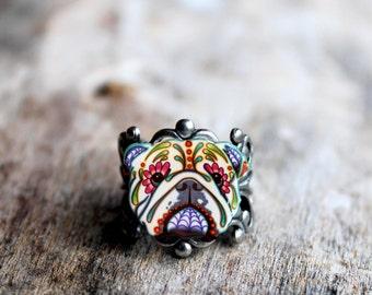 Day of the Dead English Bulldog Sugar Skull Dog Adjustable Ring