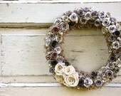 Gray, cream, ivory, charcoal, rose, paper flower wreath