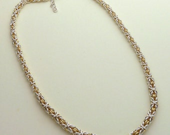 Graduated Byzantine Chainmaile Necklace (Choice of four metals)