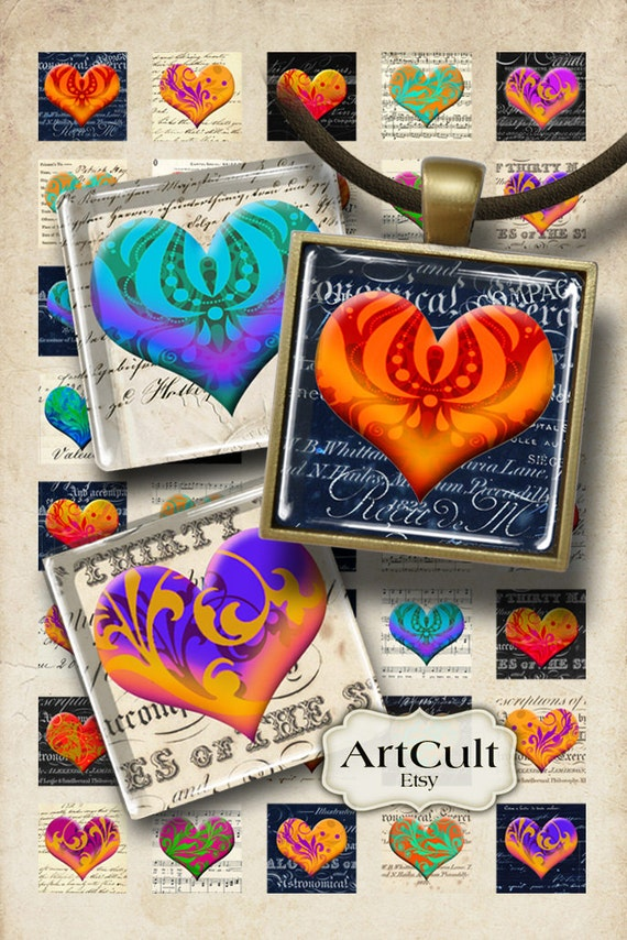 Digital Collage Sheet CANDY HEARTS 1x1 inch size images Printable download for square pendants, magnets, paper scrapbooking craft ArtCult
