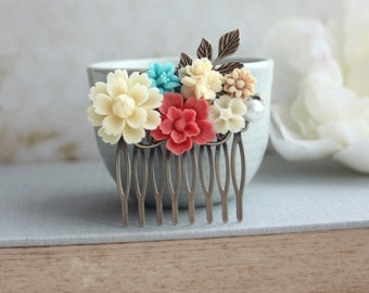 Ivory Mum, Coral, Blue, Latte Brown, Pearl, Flowers Bouquet, Brass Leaf Collage Hair Comb. Bridesmaid Gifts. Coral Wedding. Bridal Wedding