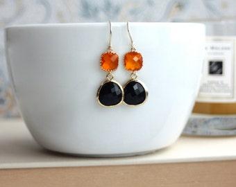 Modern Earrings. Orange Tangerine, Jet Black Gold Glass Dangle Earrings. Bridesmaid Gifts. Orange and Black Wedding. Fall.