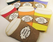 Thanks A Latte Card - Gift Card Holder - LOVE You A Latte - Coffee Cup Shaped Card - Teacher Appreciation - Business Thank You