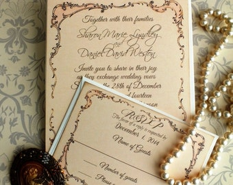 Romantic Vintage Fancy Frame Wedding Invitations Handmade by avintageobsession on etsy