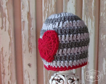 Valentine's Day Baby Boy Hat, Valentine Baby Hat, Newborn Valentine Hat, Crochet Baby Boy Hat, Gray Striped Baby Hat with Crochet Heart