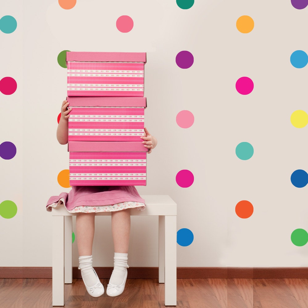 Polka dot wall decal 36 confetti rainbow wall decals colors for How to make polka dots on wall