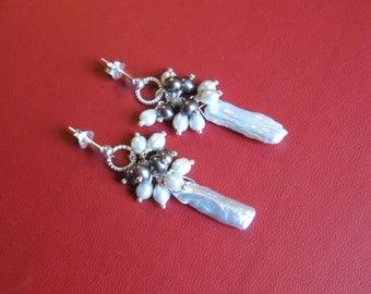 Pearl Cluster Earrings- Biwa, Freshwater Pearls in Silver