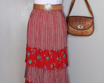 1980s Vintage Skirt - Five Tier Broomstick Skirt in Red Stripe and Floral - Cowgirl - Western Wear - Rodeo Style
