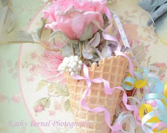 Flower Photography, Shabby Chic Decor, Kitchen Art Photography, Shabby Chic Floral Waffle Cone, Cottage Food Kitchen Art Photography Prints