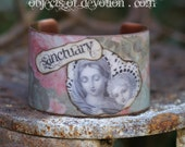 Sanctuary Bracelet * Catholic Jewelry * Catholic Gift * Religious Jewelry * Religious Bracelet * Catholic Artisan Mary & Jesus Copper Cuff