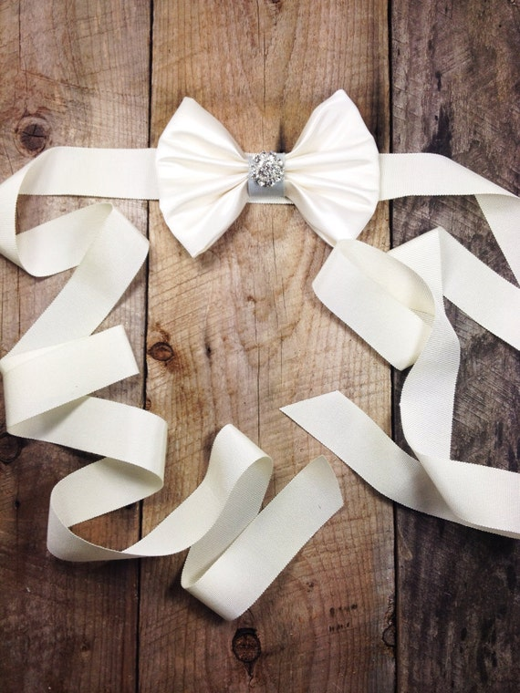 Lia Bridal Sash - Cream / Ivory / Blue