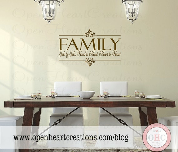Family vinyl wall decal side by side hand in hand heart to for The best of family decals for walls
