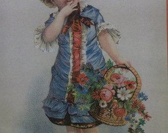 Fancy Girl with Basket of Flowers - Lrg Victorian Trade Card - Cook Co - Stationer - Circleville, Ohio
