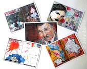 Giant Oversized Art Journal Page Postcards - Set Five (Set of 5)