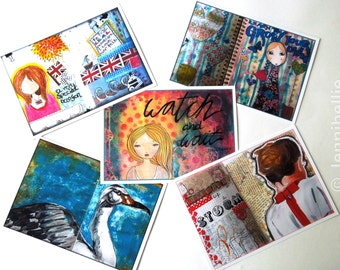 Giant Oversized Art Journal Page Postcards - Set Three (Set of 5)