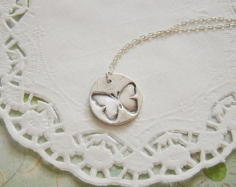 Bridesmaid petite butterfly metal clay fine silver necklace, bridesmaid gift, for wife, eco friendly