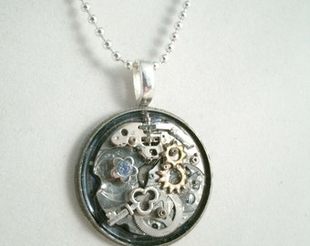 Watch part Pendant Necklace Steampunk Upcycled Vintage watchparts New charms and Vintage jewelry pieces Silverplated Ball chain