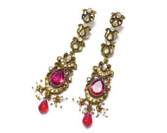 20s  Long Ornate Tudor Revival  Earrings - Deep Rubellite Pink