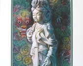 Goddess Kuan Yin Dragon Buddha art Zen Buddhist meditation spiritual Buddhism art print 11x14 matted