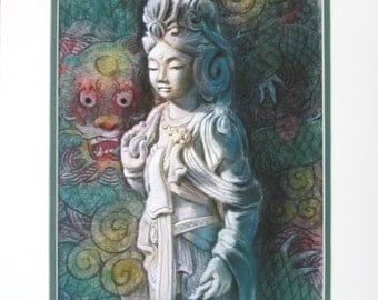 Goddess Kuan Yin Dragon Buddha art Zen Buddhist meditation spiritual Buddhism art print 11x14 matted