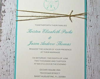 Robin's Egg Blue Sand Dollar Wedding Invitations/Teal Beach Wedding Invitation/Tropical Wedding Invitations DEPOSIT