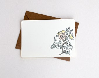 Pastel Flower Notecard Set in Cream, Pink and Green -Set of 3, 6 or 10 Flat Notecards with Kraft Envelopes